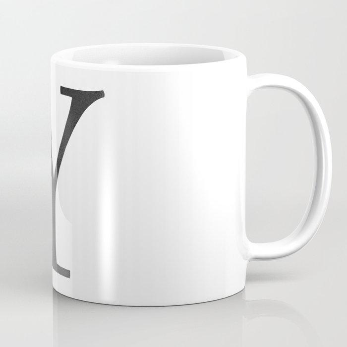 Letter Y Initial Monogram Black and White Coffee Mug