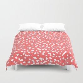 Claudia - abstract minimal coral dot polka dots painterly brushstrokes Duvet Cover