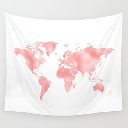 Pink Shiny Metal Foil Rose Gold World Map Wall Tapestry