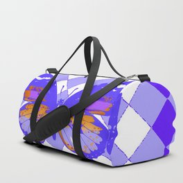 ABSTRACTED PURPLE BUTTERFLY  &  LILAC ARGYLE PATTERN Duffle Bag