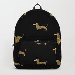 Dachshund Dog Gold Glitter Pattern Backpack