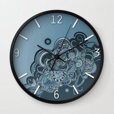 Detailed diagonal tangle, blue Wall Clock