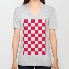 Cheerful Red Checkerboard Pattern Unisex V-Neck