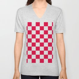 Cheerful Red Checkerboard Pattern Unisex V-Neck