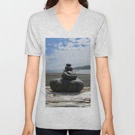 Finding Balance at the Beach Unisex V-Neck