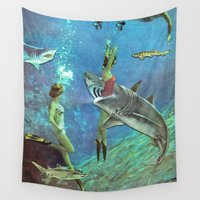 sharks Wall Tapestries featuring Sharks by Ben Giles
