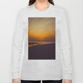 Vintage Sepia Orange Rustic Sunset Over The Ocean Long Sleeve T-shirt