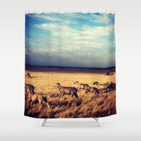 sheep Shower Curtains featuring Sheep by Slow Toast