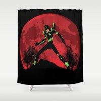 evangelion Shower Curtains featuring Neon Genesis Evangelion Unit 01 - Hill Top by kamonkey
