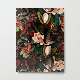 FLORAL AND BIRDS XIV Metal Print