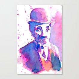Charlie Chaplin Liquid Watercolor Canvas Print