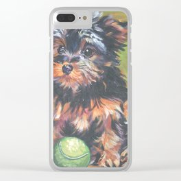 A realistic Yorkshire Terrier pup Portrait by L.A.Shepard fine art painting Clear iPhone Case