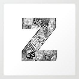 Cutout Letter Z Art Print