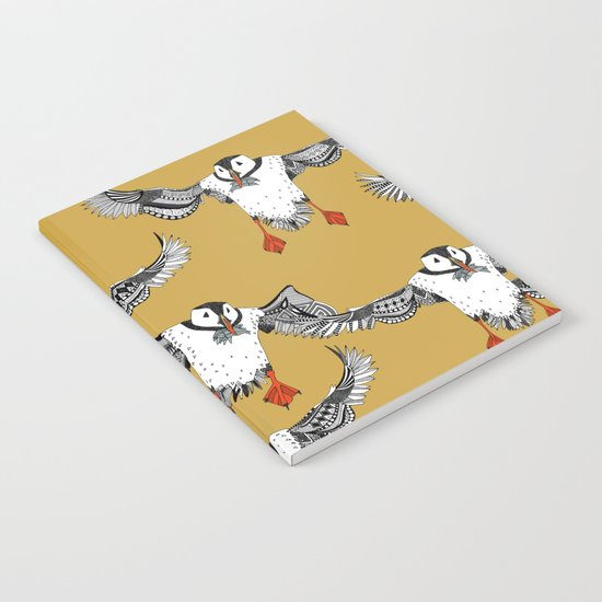 Atlantic Puffins gold Notebook