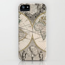 Vintage Map of The World (1721) iPhone Case
