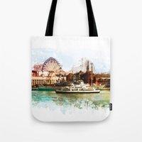 finland Tote Bags featuring Helsinki city panorame, Finland by jbjart