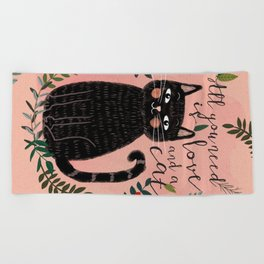 ALL YOU NEED IS LOVE AND A CAT Beach Towel