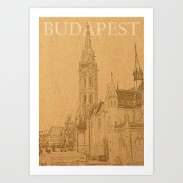 Budapest City pencil painting Art Print