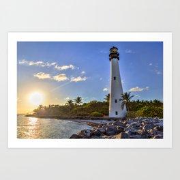 sun in lighthouse Art Print