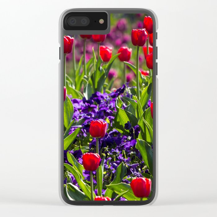 Spring Tulips Clear iPhone Case