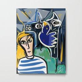 Painter and Blue Bird Expressionism Art Metal Print