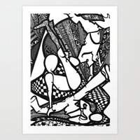 hiphop Art Prints featuring HipHop by mandybrown Art