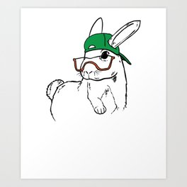 Rabbit Clipart Rabbit Line Art Bunny Wearing Glasses and Green Hat Art Print