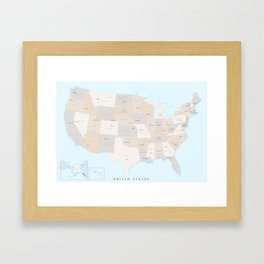 """Map of the USA with states and state capitals, """"Keane"""" Framed Art Print"""