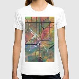 Geometric abstract colorful interlock design T-shirt