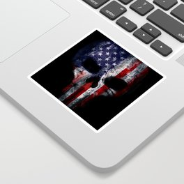 American Flag Punisher Skull Grunge Distress USA Sticker