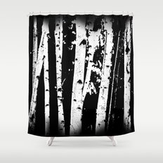 Black and White Birch Trees Fade Out Shower Curtain