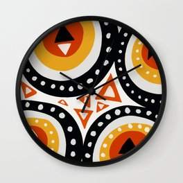 African Abstract Art Pattern Wall Clock