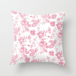 Emma Floral in Red Throw Pillow