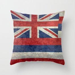 Hawaiian Flag in Vintage Retro Style Throw Pillow