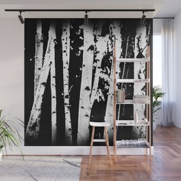 Black and White Birch Trees Fade Out Wall Mural