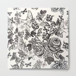 Elegant floral vector vintage pattern with roses, flowers and butterflies Metal Print