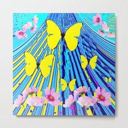 MODERN ART YELLOW BUTTERFLIES PINK FLOWERS BLUE PATTERN Metal Print