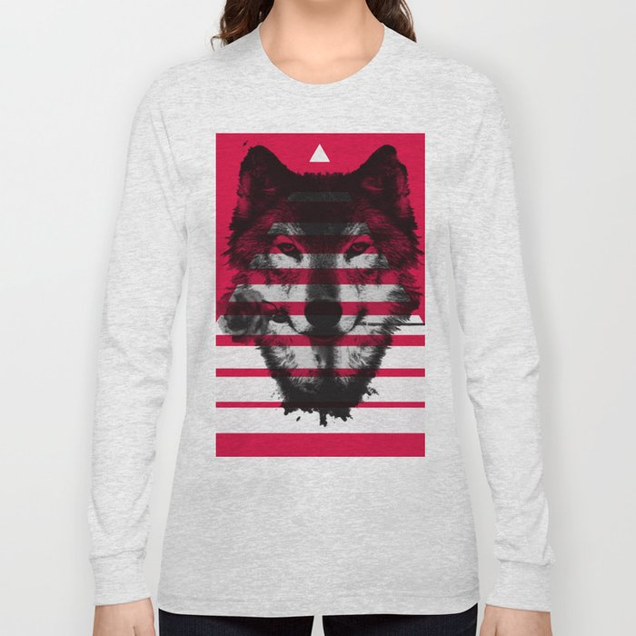 Red wolf white 4 Long Sleeve T-shirt