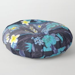 Blue Hawaiian Hibiscus and Plumeria Floor Pillow