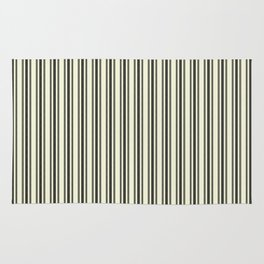Large French Beige Mattress Ticking Black Double Stripes Rug
