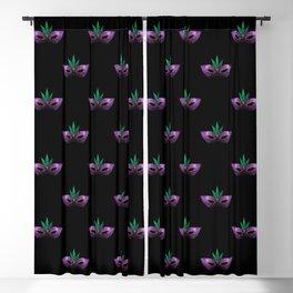 Mardi Gras Mask Purple Green Gold Sparkles Blackout Curtain