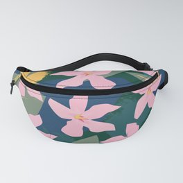 Pink Tropical Flowers and Leaves Fanny Pack