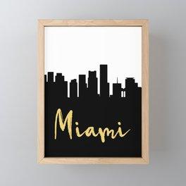MIAMI FLORIDA DESIGNER SILHOUETTE SKYLINE ART Framed Mini Art Print