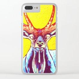 """Cornua ex Deo""Horns of God deer art Clear iPhone Case"