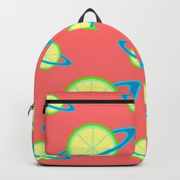 Planet Lime Pattern | Solar System | Space | Citrus Planets | Tropical Fruit | pulps of wood Backpack