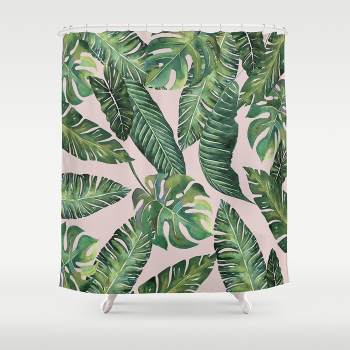 Jungle Leaves, Banana, Monstera Pink #society6 Shower Curtain