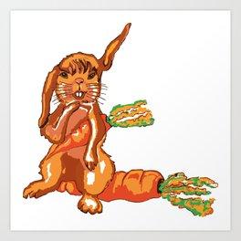 Hase auf der Möhre,Bunny on the carrot, Art Print