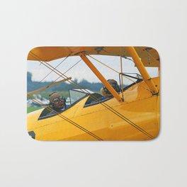 Oldtimer yellow plane Bath Mat