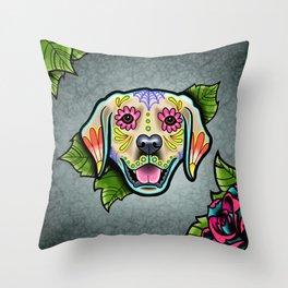 Golden Retriever - Day of the Dead Sugar Skull Dog Throw Pillow