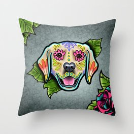 Golden Retriever - Day of the Dead Sugar Skull Dog Throw Pillow